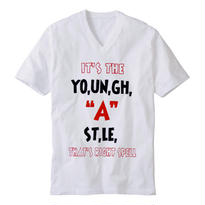 "【20%OFF】YOUNG HASTLE ""SPELL MY NAME RIGHT"" V-NECK TEE WHITE/BLACK/RED"