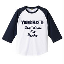 "【20%OFF】YOUNG HASTLE ""CAN'T KNOCK THE HASTLE"" 3/4 SLEEVE RAGLAN WHITE/NAVY"