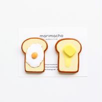 たまごトーストとバタートーストのちいさな木製マグネット/ブローチ
