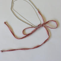 チェーンとベロアのチョーカーネックレス pink