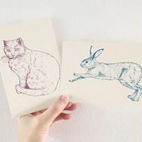 nemunoki:ハーフエア ポストカード ネコ・ウサギ [p2728]