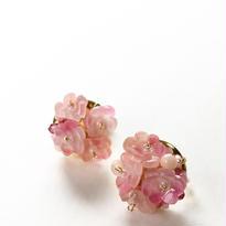 ブーケ耳飾り 小花 ピンク 受注制作