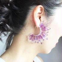 つららピアス purple flowers