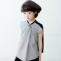 【nunuforme】ツイストTシャツ(White×Black)95-145cm<ri>