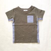 【Tappet】脇ストライプ切替ポケットTシャツ  (カーキ) 80-140cm  <to>