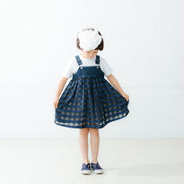 【nunuforme】 ギャザーサロペット(ネイビー) 95-145cm S-XL