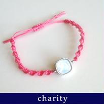 チャリティーブレス フレンドシップ・スワロフスキー編みこみブレスレット/ミルキーホワイト×ピンク