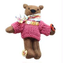 Teddy Bear Necklace-Pink Sweater-