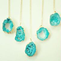 限定blue slice geode pendant