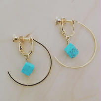 turquoise cube earring