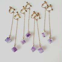 amethyst◇cube earring