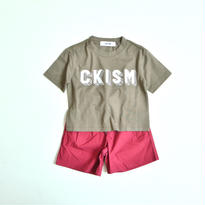 【 CKISM 2017SS 】 Big Tee + Wide Shorts Set / Kahki x Wine / size 100〜150cm