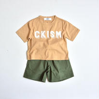 【 CKISM 2017SS 】 Big Tee + Wide Shorts Set / Beige x Kahki / size 100〜150cm