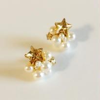 小粒の星とパール《ピアス/イヤリング》