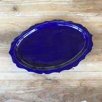 瑠璃色 リム付きオオバル皿