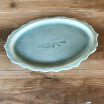 ターコイズブルー リム付きオオバル皿