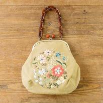 装う刺繍 身につける刺繍 材料セット 蝶と花々のがま口バッグ