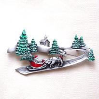 JJ ヴィンテージブローチ もみの木と赤い雪車