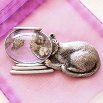 JJ ヴィンテージブローチ 座っている猫と金魚鉢Silver