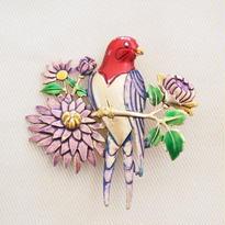 JJ ヴィンテージブローチ  鳥とパステルフラワー
