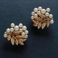 Crown TRIFARI /クラウントリファリ 1960's パールと葉っぱのイヤリング   G