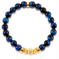 BLUE TIGER EYE & GOLD BALL BRACELET -8mm-