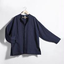 スタンドカラーシャツジャケット NAVY [リネン]
