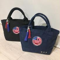 タッセル付きアメリカンスマイルキャンバスデニムトートバッグ