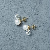 shuo13017 Pearl × Crystal Piercing K18