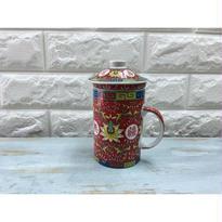 【上海☆YU TAI CERAMIC】萬壽無疆の蓋・茶こし付 茶杯  / 茶こしが便利です