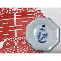 【香港☆粵東磁廠】(手書き)TINTINの縁起物八角皿  / Yuet Tung China Works