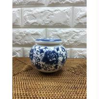【上海☆景徳鎮彩】素敵です!磁器製茶筒  / 白磁に藍一色・牡丹