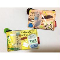 【台灣☆漫遊台湾】台湾柄ポーチ・小銭入れ  / 寶島啤酒・ 珍珠奶茶 Made in Taiwan
