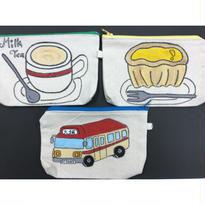 【香港☆李鄭屋手作人】手書きポーチ/ Milk Tea・エッグタルト・ミニバス