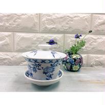 【香港☆粵東磁廠】手書き・総督夫人の青の花柄ティーカップ  / Yuet Tung China Works