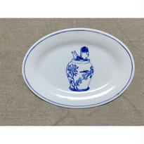 【香港☆粵東磁廠】(手書き)TINTINのオーバル中皿  / Yuet Tung China Works