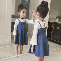 【予約】kids☻denim salopette skirt