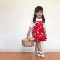 kids☻ホワイトTシャツ&花柄キャミソールワンピース 2点セット
