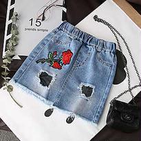 kids☻クラッシュ網デザイン薔薇刺繍デニムスカート