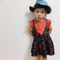 kids☻袖フリルキラキラ☆ラメトップス&小花柄キャミワンピースセット★再入荷