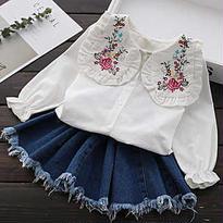 kids☻花柄 刺繍 shirt