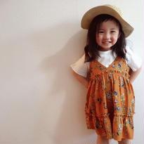 kids☻ホワイト半袖Tシャツ&花柄キャミワンピースセット