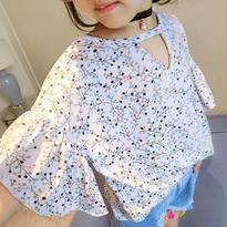 kids☻フレア袖★前開きデザイン小花柄トップス