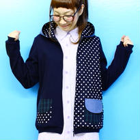 水玉mixフードパーカー♡ネイビー