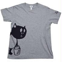 河童の三平 バケツ持ちたぬき T-Shirts(特製タグ付) Color グレー