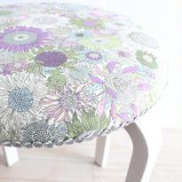 リバティプリントのヒマワリ柄のスツール(白) スモールスザンナ 紫