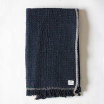 Gara-bou Blanket Stole 90×190cm (Dark Indigo Pin Border)