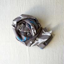 #150 Khadi Leaf Print Stole 55 × 180cm  (Warm Gray)