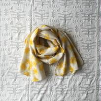 #150 Khadi Badala Flower Print Stole 55×180 (Yellow)