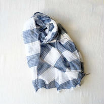 TC Khadi Border & Plaid Stole (Navy Border)